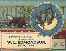 "RARE OLD ORIGINAL 1910 ""EDMONDSON'S FAVORITE"" BLACKBERRIES LABEL GOIN TENNESSEE"
