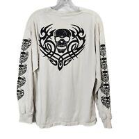 White Gildan Graphic Skeleton Long Sleeve Shirt Top Flames Mens Size Large L