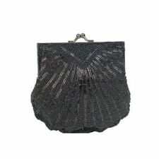 Ladies Women's Girl's Black Clasp Sequin Evening Purse Bag Handbag