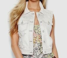 NWT $108 Guess Vintage White Vacation Cropped Crochet Junior Girl's Vest Sz M