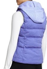 Athleta Seeker Vest XS Removable Hoodie Quilted Puffer Sleeveless Blue