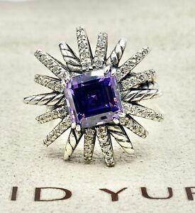 David Yurman Sterling Silver & Diamond 23mm Starburst 8mm Amethyst Cable Ring