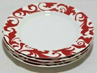 Ciroa Fiori White / Red Swirls Porcelain Salad Side Plates Set of Four New