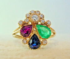 Vintage Ruby Emerald & Sapphire with Diamonds Ring 19k Yellow Gold