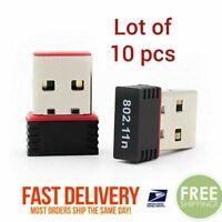 Lot of 10 Mini USB WiFi WLAN Wireless Network Adapter 802.11 Dongle RTL8188 WIN