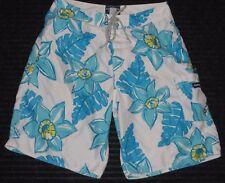 Abercrombie & Fitch Board Surf Swim Long Shorts Trunk Mens Sz 30 Floral Blue