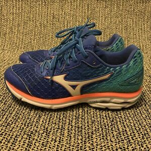 Mizuno Wave Rider 19 Blue/Green Women's Athletic Running Shoes Size 7.5