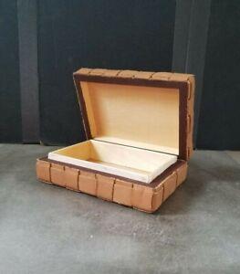 "Janet Salzer Designs Woven Leather Nicknack Jewelry Hinged Box 4"" x 5"""