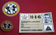 1#  GOLD PLATED: JAMES BOND 007 `MILITARY INTELLIGENCE` BADGE & STICKER SET