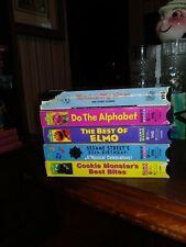 LOT 5 Sesame Street VHS  ELMO COOKIE MONSTER ALPHABET ERNIE MESS 25TH BIRTHDAY