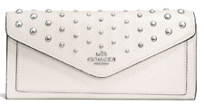 NWT Coach Soft Wallet Polished Pebble Leather Ombre Rivets Silver Chalk F57539