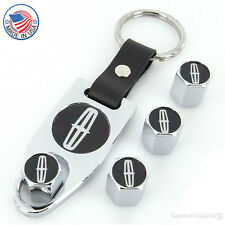Lincoln Black Logo Chrome Tire Stem Valve Caps + Wrench Key Chain