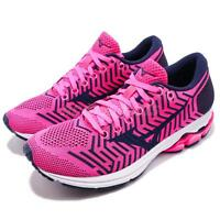 Mizuno WaveKnit R2 Pink Fuchsia Navy Womens Running Shoes Runner J1GD1829-11