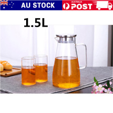1.5L Glass Water Pitcher Bottle Jug For Cold Water Milk Juice Tea Pot With Lid