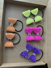 Beautiful Bundle 4 Pairs Handmade Bright Funky Glitter Pigtail Bobbles