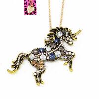 Betsey Johnson Crystal Unicorn Horse Pendant Chain Retro Necklace/Brooch Pin