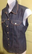 Basler Jeans Gillet Uk14 Eu40 Sleeveless Dark Wash Denim Jacket  Fitted VGC