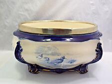 Antique Royal Doulton Blue Porcelain Bird Motif Serving Bowl Tureen EPNS Rim