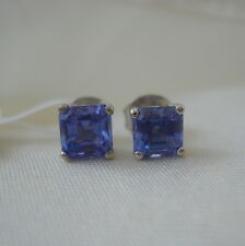 1.50ct AA Tanzanite Asscher Cut White Gold Earrings