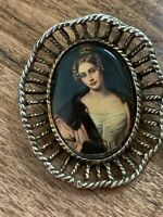"""Vintage Pin Brooch Victorian Metal Picture Cameo Decorative Setting 1.5"""""""