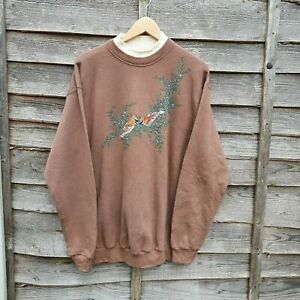 Vintage Brown Latte Bird Embroidered Oversized Sweatshirt From USA