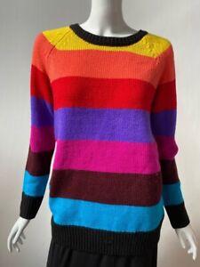 Republic Womens Pullover Sweater Multicolor Color Block Crew Acrylic Vintage M