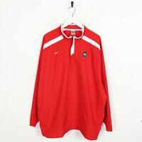 Vintage NIKE TEAM Small Logo 1/4 Zip Soft Shell Windbreaker Jacket Red | XL