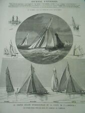 la grande regatta international of the Coupte the America Engraving 1886