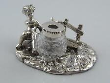 SILVER PLATE & CUT GLASS BOY INKWELL & PEN TRAY