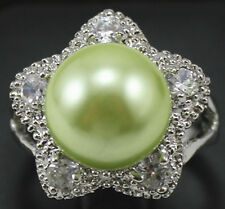 12mm pink red gray coffee yellow blue green white shell pearl CZ Starfish ring