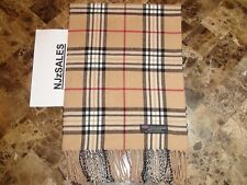 Men Long CASHMERE Scarf Camel Beige Tan Tartan Warm Check Plaid Made SCOTLAND