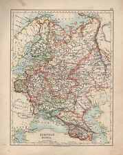 1909 MAP ~ EUROPEAN RUSSIA ~ CAUCASUS FINLAND