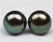 10-11mm Tahitian Black Natural Pearl Earring AAA Grade