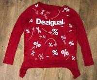 Desigual ladies womens red logo shirt top blouse size M