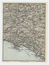 1927 ORIGINAL VINTAGE MAP OF VICINITY OF RAPALLO RECCO CHIAVARI / LIGURIA ITALY