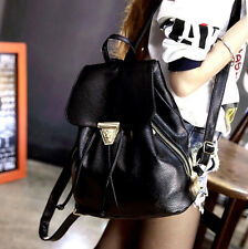 Korean Girl Synthetic Leather Triangle Metal Clasp Back Pack Casual Shoulder Bag