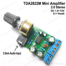 DC 3V~12V 5v TDA2822M Mini Amp Audio Power Amplifier Board Module 3.5mm Input