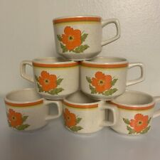 Lenox Temper-Ware Fire Flower Orange Floral Set 6 Coffee MUGS USA Vintage 1970s