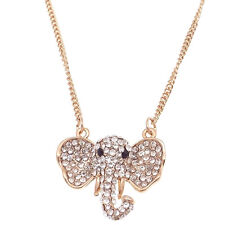 """Male Elephant Pendant Necklace Costume Jewelry 3d Gold Tone Crystal Clear 16""""+3"""""""