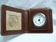 Eddie Bauer Full-Grain Leather Travel Alarm Clock Picture Frame