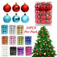 24Pcs Christmas Balls Xmas Tree Ornament Bauble Hanging Home Party Decor 30MM Bu
