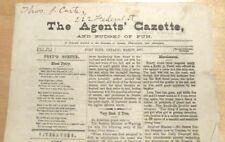 The AGENTS' GAZETTE -  for Philatelists -  1877  Vol 1 # 3   PORT HOPE, ONTARIO