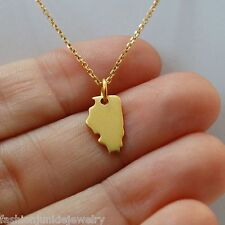 Illinois State Charm Necklace - 24k Gold Plate 925 Sterling Silver State Jewelry