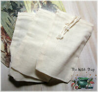 "3 Cotton Pouches Bags 3"" x 5"" - Drawstring Undyed Charm Hoodoo Mojo Medicine Bag"