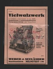 HELMSTEDT, Werbung 1933, Weber & Seeländer Maschinen-Fabrik Vielwalzwerk