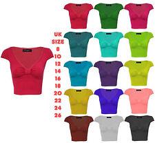 28a2d15b New Womens cap sleeve crop top Ladies knot boob tube Crop Top T shirt Top