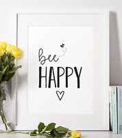 Bee Happy Quote Print Positivity Motivational Wall Art Home Gift Present