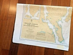 1981 Vintage Canada Vancouver Map Nautical Chart 3594 Discovery Passage 45X33