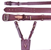 Real Leather Sam Browne Belt + Leather Frog, BROWN Colour, LI-AUCC-0041