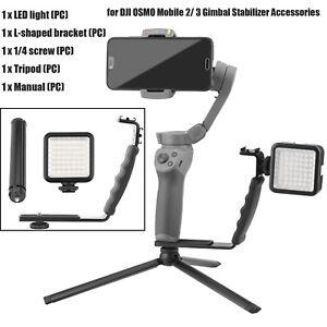 For DJI OSMO Mobile 2/ 3 Gimbal Stabilizer LED Light L Bracket & Tripod Holder